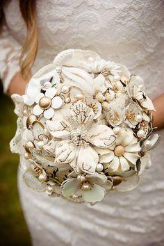Vintage Cream Brooch Bouquet