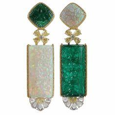 Emerald opal earrings by Arunashi. Extraodinary play of Yin & Yang.