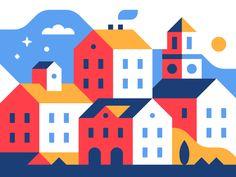 Happy Town by Alex Pasquarella - Dribbble Building Illustration, Flat Design Illustration, House Illustration, Retro Illustration, Landscape Illustration, House Drawing, Shape Design, Minimalist Art, Illustrations Posters