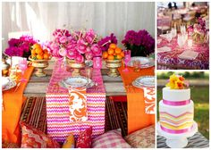 Hot Pink and Orange Tablescape.