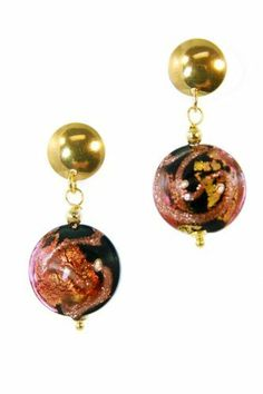Bronze & Black Murano Glass Bead Drop Earring in Gold Plated Sterling Silver; Made in Italy Venetiaurum. $80.00. Murano Glass Bead Drop in Bronze, Black & Gold; Bead is 5/8 Inch. Handmade in Italy; Comes with a Certificate of Authenticity. Matching Pendant Necklace is Available. Bead Descends from a Gold Plated Sterling Silver Button Post; Total Earing Length is 1 1/2 Inch