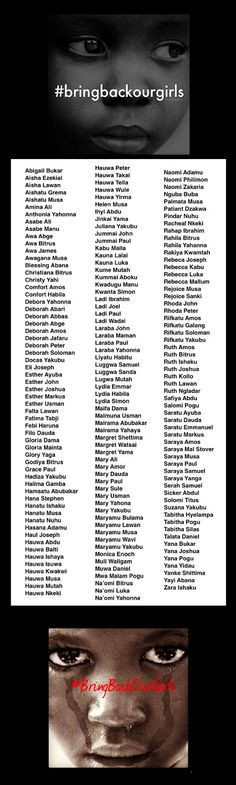 These Are The 180 Nigerian Girls Who Were Abducted and Are Now Missing - Mic.  These are our girls. These are our daughters, our sisters, our nieces and our friends. Demand they be brought home. Call or write your senators today. - Maple