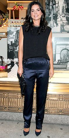 KATIE LEE......  We go shopping in any old outfit, but the celeb chef hits up Henri Bendel in sexy silk pants with an elastic waistband. (Yes, we just used sexy and elastic waistband in the same sentence.) She plays off the black accents on the bottoms by adding a black tank and matching clutch.