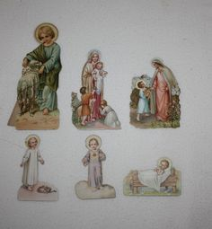Lot Of 6 Religious Christmas Die Cut Holy Cards Paper Jesus Mary 1920s  Vintage