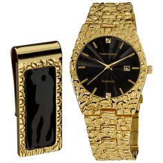 @Overstock.com - Vernier Men's 'Golden Nugget' Black Guilloche Dial/ Calendar Date Bracelet Watch - This extravagant gold-toned stainless steel watch will stand out with any outfit. The band on this watch resemble gold nuggets and has diamonds at the twelve and six oclock positions. The hour, minute, and second hands resemble slender swords.  http://www.overstock.com/Jewelry-Watches/Vernier-Mens-Golden-Nugget-Black-Guilloche-Dial-Calendar-Date-Bracelet-Watch/6728632/product.html?CID=214117…