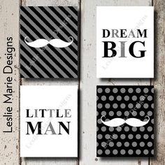 BABY BOY NURSERY  Little Man Wall Art  by LeslieMarieDesigns