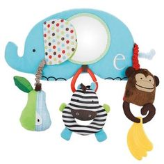 One of 2 bumper bar toys that you can attach to your pram or stroller bumper bar, or even to your car seat handle, for fun on the go. It features 5 activities to entertain, including a removable toy zebra, and, being Skip Hop, is made from beautiful fabrics & materials. Part of the Skip Hop Alphabet Zoo range of accessories. Available now from http://www.rosebudbaby.co.uk/advanced_search_result.php?keywords=alphabet+zoo=0=0#.UdMTs7Sfdz8 #SkipHop #alphabet #baby #pramtoy