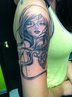 fuckyeahtattoos: My Audrey Kawasaki tattoo I got yesterday by David Boggins at Body Language in Columbus, Ohio. Christina perri got the same one done at LA Ink