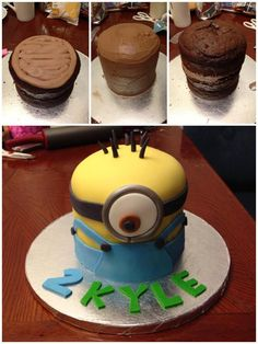 Despicable Me minion cake - *  since it's despicable me day here's a cake i made a few months ago for a client.