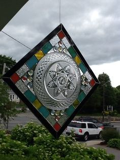 Stained Glass Window Panel With Clear Vintage Plate AND Glass Marble Nuggets | eBay