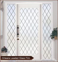 Orleans Leaded Glass Privacy Window Film - White or Black Lead Lines - Window Film World