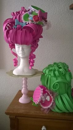 Foam wigs with mini top hat made by Lady Mallemour ...OMG, how awesome are these!