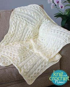 Free Cabled Cubed Throw pattern download Design by Caron Design Team Featured in Season 6, episode 4, of Knit and Crochet Now! TV.
