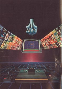 "Lots of ""vintage"" ATARI stuff at the arcade. It's also a well recognized logo. ( i guess now it's vintage. Vintage Video Games, Retro Video Games, Vintage Design, Vintage Ads, Retro Design, Vaporwave, Arte 8 Bits, 80s Aesthetic, Retro Videos"