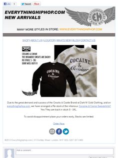 Crooks & Castles Cocaine and Caviar Sweatshirts BACK IN STOCK. Grab one while you can @ http://www.everythinghiphop.com/Crooks-And-Castles/  This seasons hottest item.