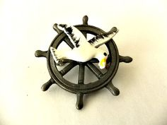 Pewter Ships Wheel Seagull Brooch Pin By Ediesbest On Etsy, $8.95
