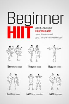The Beginner HIIT Workout is perfect if you are running low on energy, short on time or if you are just starting out with HIIT. It's not hard yet it is demanding enough to give you a good burn. Try to go flat out each time - after all, it's only 15 seconds. You can do anything for 15 seconds!
