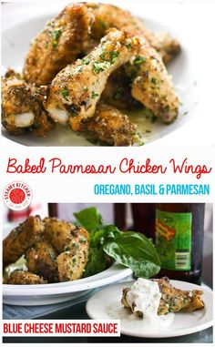 Baked Parmesan Garlic Chicken Wings Recipe - with a blue cheese mustard dipping sauce. ~ http://steamykitchen.com