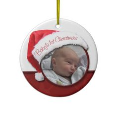 Babys 1st Christmas - Santa Hat Photo Ornament