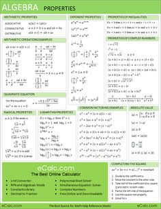 Algebra Properties Sheet