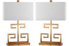 Greek Key Table Lamp Set lamps in bronze. Follow us at www.birdaria.com. Love it, like it, pin it!!