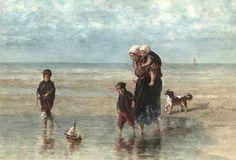 Jozef Israels (1824-1911) Kinderen aan zee. Aquarel waarvan de datering niet bekend is. In de verte eenzeilschip afgebeeld. (Coll. Waddingtons.ca)