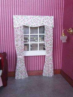 Miniature dolls house 12th scale curtains drapes pink roses