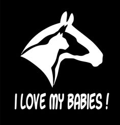 "Amazon.com: I Love My Babies! Horse Dog Cat White 6"" Tall Vinyl Decal: Automotive"