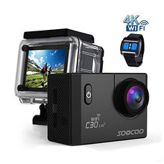 4k WIFI Sports Action Camera, SOOCOO Action Camera Waterproof 20MP 170 Degree Wide Angle Sports Video Camera 2 inch LCD Screen/2.4G Remote Control/32GB Micro SD Card/2 Batteries/19 Mounting Kits-Black | Action Cameras And Accessories