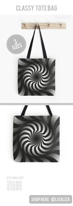 Abstract Arts Black White illusion Pattern Tote Bags Explore a wide range of tote bag design from lisaliza@Redbubble Store. Shop tote bags in original artwork carry them everyday everywhere you go  Show Your Personality !  All artwork printed on High Quality and durable totes.   #Totebags #Womenfashion #Gifts #Festivegifts #Causal #Christmasgifts #Toteillustration #ForTeens #Ladies #presents #totebagpattern #Lisaliza #RedbubbleTote  #RedBubble#Lisaliza #Pattern #Elegant #Classy