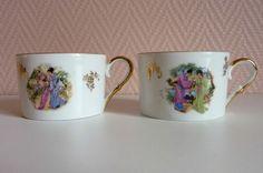 Deux tasses à thé  porcelaine de Limoges Chadelaud (décor japonisant)