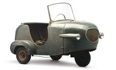 "1953 Manocar Prototype. This rough-looking tiny car was one of two prototypes built by Établissements Manom in Saint Ouen, France between 1952 and 1953. It uses a four horsepower 125cc single-cylinder and was supposed to set the microcar world on fire due to its ease of access and ""roomy"" interior. Needless to say, this was as far as the project got."