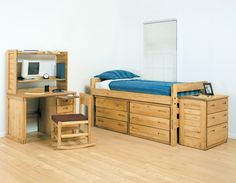 extra long twin storage bed 4 drawers & 2 doors in birch | twin xl