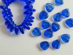 Czech Glass Vintage Leaves Royal Blue Front Drilled Etched Transparent Beads Curved Heart 8x9mm Tree Fruit Flowers Earrings Jewelry Charm 12