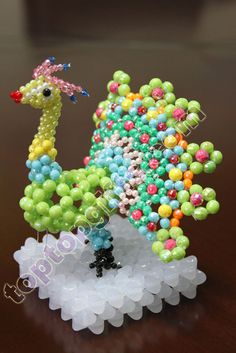 ... Gifts > Beaded Decorations > 3D beaded peacock animal acrylic figurine