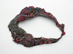 Felted embroidered necklace statement OOAK by rRradionica on Etsy, $99.00