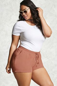 Forever 21+ - A pair of woven shorts featuring an elasticized drawstring waistband, front slip pockets, and rolled cuffs.
