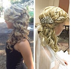 Left was desired look, right was the final result of the bride! We love our brides! Beautiful bridal do by Abby! #lwboutiquesalon #bridal #bridalhair #herecomesthebride #curls #hairstylist #wedding #weddingday #Franklintn #Nashville #Brentwood