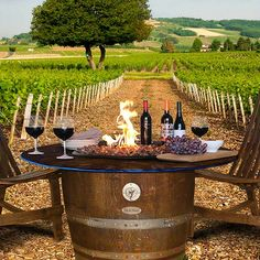 Wine and Dine on the The Reserve Slate Table Top Fire Pit from Family Leisure! Outdoor Rooms, Outdoor Tables, Outdoor Living, Outdoor Decor, Wine Barrel Fire Pit, Family Leisure, Fire Pit Table, Slate, Vineyard