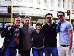 Now that's a lucky girl!  Oh my gosh!  Adam Brown, Dean O'Gorman, Aidan Turner and Luke Evans.  She must be really short.