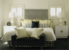 Primarily neutral bedroom with black and mustard yellow accents by Caldwell and Flake. http://www.caldwellflake.com/