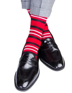 Red with White and Navy Double Stripe Sock Linked Toe Mid-Calf