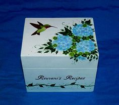 Custom Recipe Box Hand Painted Hummingbird Personalized Wood