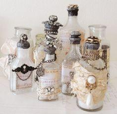 beautiful bottles...I love decorating vintage and antique bottles