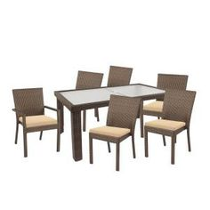Hampton Bay, Beverly 7-Piece Patio Dining Set with Beige Cushions, 65-23377B at The Home Depot - Mobile