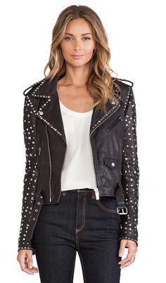 Maison Scotch Studded Leather Jacket in Black