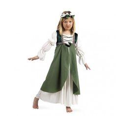 b6dc52132f Disfraz de Clarisa Medieval Verde para Niña