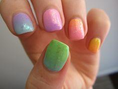 Rainbow nails with Lime Crime creams and Zoya flaky topcoats.    More original nail art.