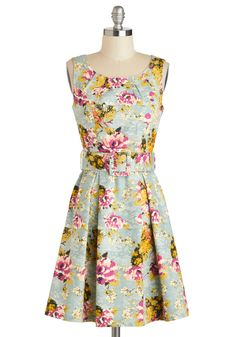Spring-a-Ding-Ding Dress by Darling - Cotton, Mid-length, Blue, Multi, Floral, Belted, Daytime Party, A-line, Tank top (2 thick straps), Scoop, Exposed zipper, Wedding
