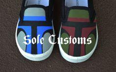 Boutique Custom Hand Painted Disney Star Wars Inspired Boba Fett And Jango Fett Gym Skater Slip-On Toddler Shoes on Etsy, $35.00